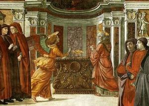 The Angel Gabriel speaks to Zechariah, by Tornabuoni.  15th Century.