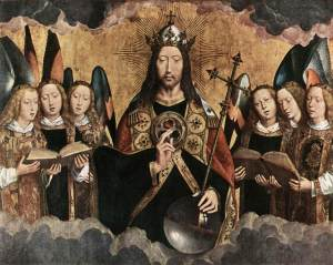 Christ Surrounded by Musician Angels, Hans Memling, 1480's.  Public Domain.