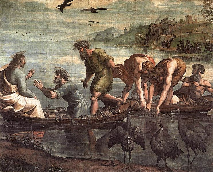 Raphael, Miraculaous Draught of Fishes, 1515.  Public Domain.
