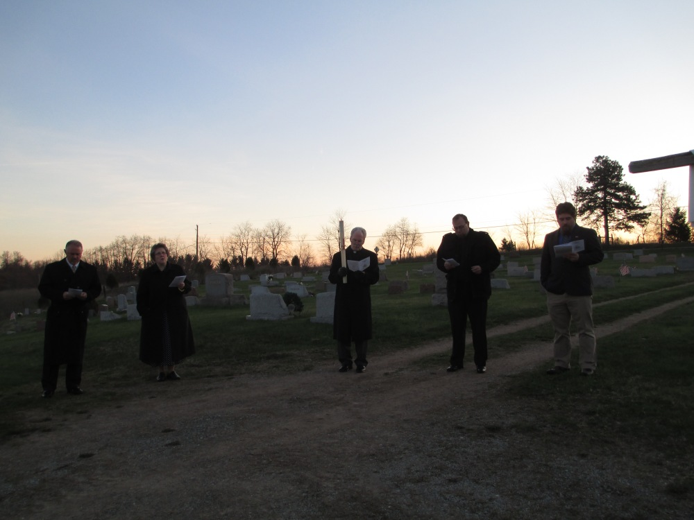 (L. to R.) Revs. Chris Livermore, Marnie Silbert, Greg Held, Joseph Hedden and Mr. Ryan Lucas at the Easter Sunrise Service