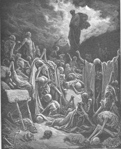 Gustav Dore's Valley of the Dry Bones.  1866. Public Domain.