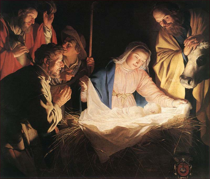 Nativity by Gerard van Honthorst.  Dutch.  17th Century.