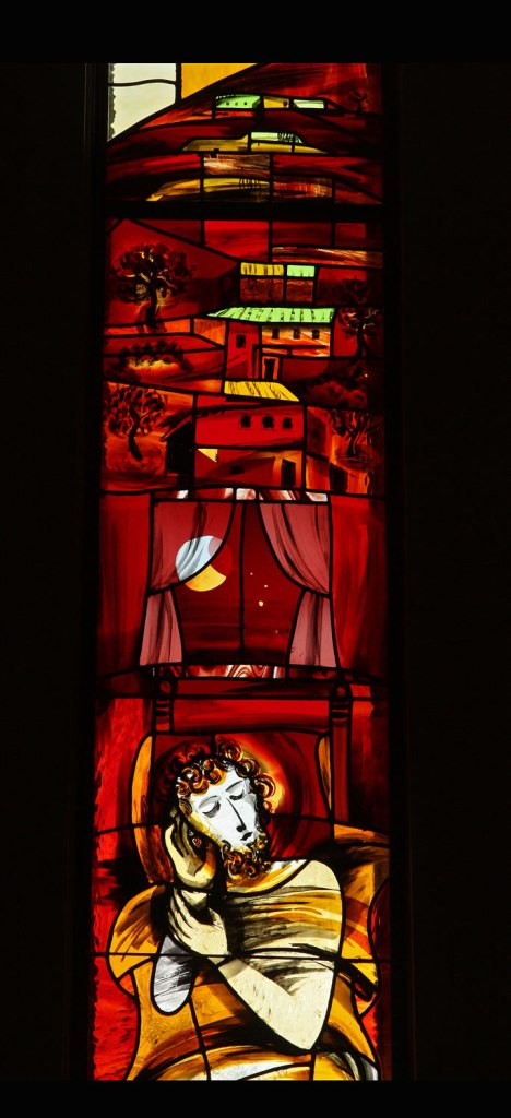 "Sleeping Joseph, Detail of the ""Joseph"" window in Jasienica (central Poland:, by Tomasz Tuszko)"