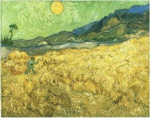 Wheat fields with reaper at sunrise.  Vincent van Gogh.