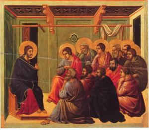 Christ Taking Leave of the Apostles by Duccio.  Public Domain.
