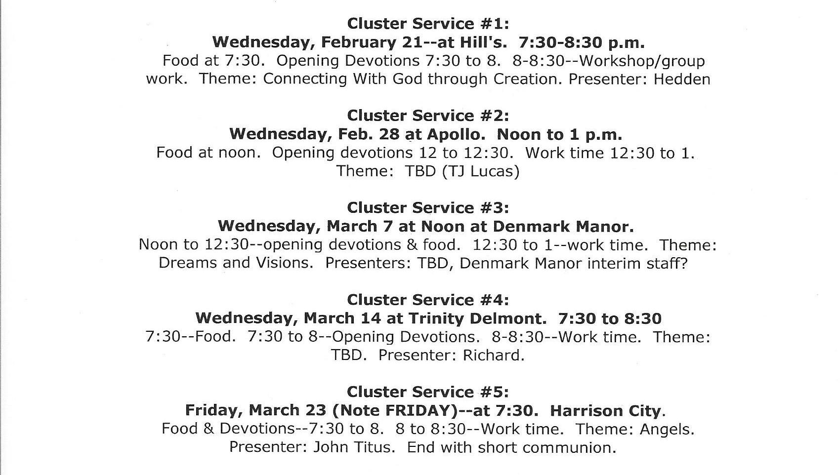 Lent 2018 Cluster all churches