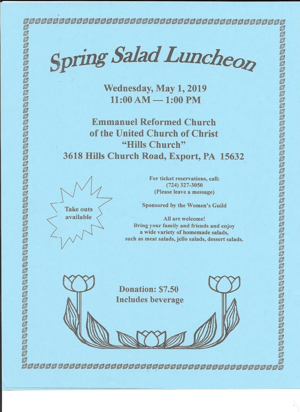 spring salad luncheon flier 2019